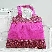 Embroidered shoulder bag, 'Fuchsia Mandalas' - India Fuchsia Embroidered Handbag with Sequins