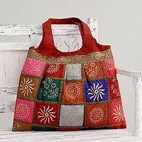 Embellished tote handbag Crimson in Kutch India