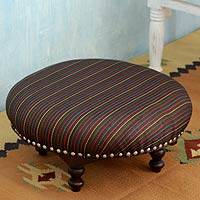 Mango wood ottoman, 'Delhi Night' - Handcrafted Black Upholstery Ottoman from India
