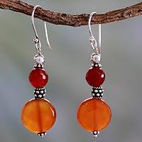 Carnelian dangle earrings, 'Sunny Delhi' - Fair Trade Hand Crafted Carnelian Earrings