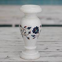 Marble inlay decorative vase, 'Verdant Rose' - Fair Trade Marble Inlay Decorative Vase