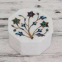 Marble inlay jewelry box, 'Ivy Tree' - Octagonal Marble Inlay Jewelry Box