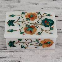 Marble inlay jewelry box, 'Floral Trio' - Fair Trade Marble Inlay Jewelry Box