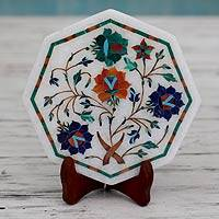 Marble inlay plate, 'Four Roses for You' - Fair Trade Marble Inlay Plate with Wood Stand