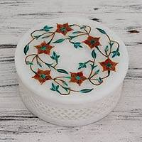 Marble inlay jewelry box, 'Mughal Garland' - Handcrafted Marble Inlay Jewelry Box