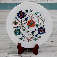 Marble inlay plate, 'Rose Delight' - Floral Marble Decorative Plate from India