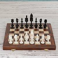 Wood chess set, 'Lord of the Castle' - India Handcrafted Chess Set
