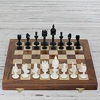 Wood chess set, 'Castles Clash' - India Hand Carved Chess Set