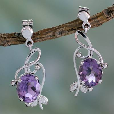Amethyst dangle earrings, 'Jungle Orchid' - Handcrafted 8 Carat Amethyst Earrings