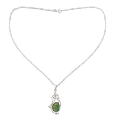 Green Composite Turquoise Sterling Silver Necklace