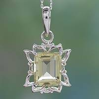 Lemon quartz pendant necklace, 'Lemon Mist' - Lemon Quartz and Sterling Silver Pendant Necklace