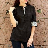 Cotton tunic, 'Midnight Vine' - Black Block Print Cotton Tunic with White Trim