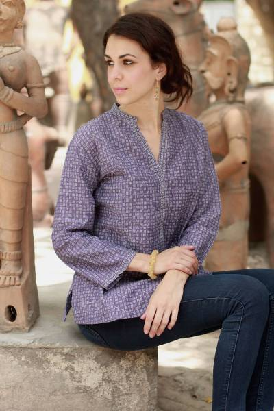 Cotton tunic, 'Lovely Lilac' - Gray and Purple Block Print Cotton Tunic from India