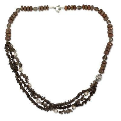 Smoky Quartz Unakite and Pink Pearl Handmade Necklace