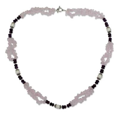 Rose Quartz Amethyst and Pearl Handcrafted Necklace