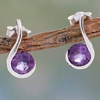 Amethyst drop earrings, 'Grape Droplet' - Amethyst and Sterling Silver Indian Earrings
