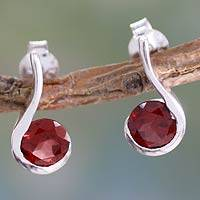 Garnet drop earrings, 'Cherry Droplet' - Garnet and Sterling Silver Indian Earrings