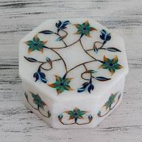 Marble inlay jewelry box, 'Green Lily Garland' - Fair Trade Marble Inlay Jewelry Box