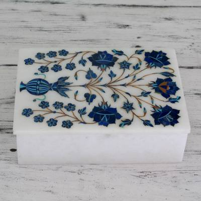 Marble inlay jewelry box, 'Royal Bouquet' - Handcrafted Marble Inlay Jewelry Box