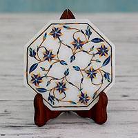 Marble inlay decorative plate and stand, 'Tiger Lilies' - Fair Trade Marble Inlay Decorative Plate