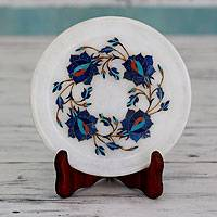 Marble inlay decorative plate and stand, 'Blue Garland' - Artisan Crafted Inlaid Marble Decorative Plate
