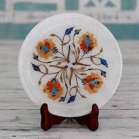 Marble inlay decorative plate and stand, 'Summer Roses' - Artisan Crafted Inlaid Marble Decorative Plate