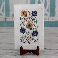 Marble inlay decorative plate and stand, 'Summer Bouquet' - Fair Trade Marble Inlay Decorative Plate