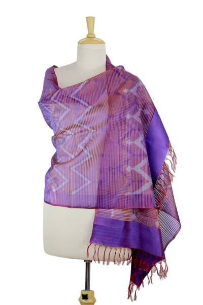 Silk shawl, 'Midnight Fantasy' - Purple Red Silk Shawl Wrap from India