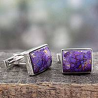 Sterling silver cufflinks, 'Bold Charisma' - Sterling Silver Cufflinks with Purple Stones