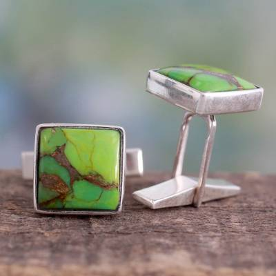 Sterling silver cufflinks, 'Adventurer' - Sterling Silver Cufflinks with Green Stones