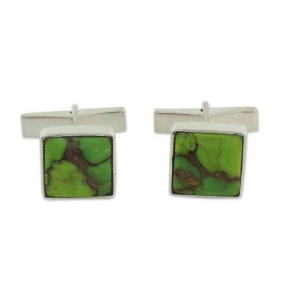 Sterling Silver Cufflinks with Green Stones
