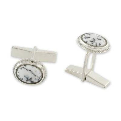 Dendritic Agate and Sterling Silver Cufflinks from India