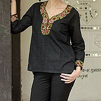 Cotton blouse, 'Ebony Blossoms' - Handwoven Floral Cotton Embroidered Black Tunic Top