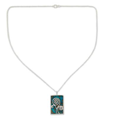 Silver and Composite Turquoise Necklace India Modern Jewelry