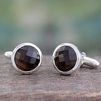 Smoky topaz cufflinks, 'Misty' - Smoky Topaz Silver Cufflinks