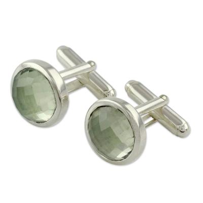 Prasiolite Silver Cufflinks