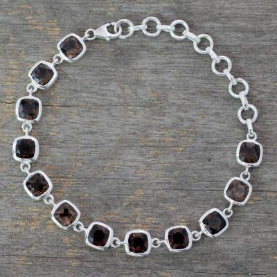Smokey quartz link bracelet, 'Dusk Whisper' - Smokey Bracelet Fair Trade Jewelry