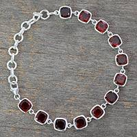 Garnet link bracelet, 'Loving Whisper' - Garnet Bracelet Fair Trade Jewelry