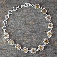 Citrine link bracelet, 'Sunlight Whisper' - Citrine Bracelet Fair Trade Jewelry