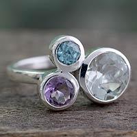 Prasiolite and amethyst cocktail ring, 'Glamorous Trio' - Prasiolite Amethyst and Blue Topaz Ring