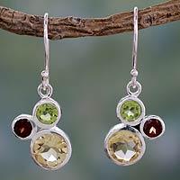 Citrine and garnet dangle earrings,