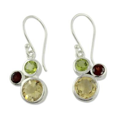 Citrine Garnet and Peridot Earrings