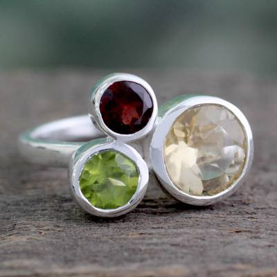 Citrine and garnet cocktail ring, 'Splendid Trio' - Citrine Garnet and Peridot Ring