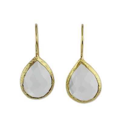 Clear Quartz and Gold Vermeil Earrings