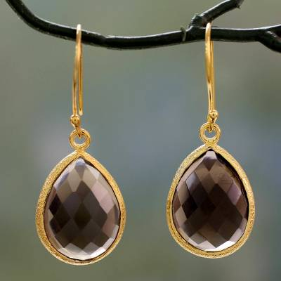 Vermeil smokey quartz dangle earrings, Natures Brilliance