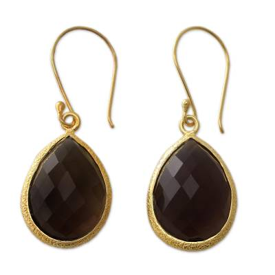 13.5 Cts Smokey Quartz and Vermeil Earrings