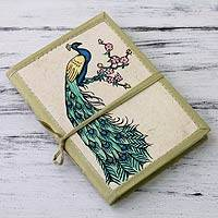 Featured review for Handmade paper journal, Peacock Journeys
