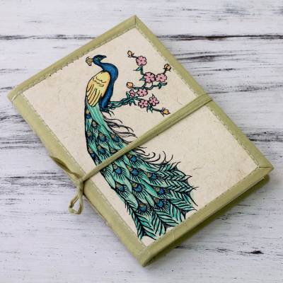 Handmade paper journal, 'Peacock Journeys' - Handmade Paper Journal with 48 Pages