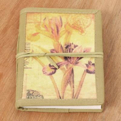 Handmade paper journal, 'Iris Voyage' - Handmade Paper Journal with 48 Pages