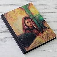 Handmade paper journal, 'Mughal Princess' - Handmade Paper Journal with 50 Pages
